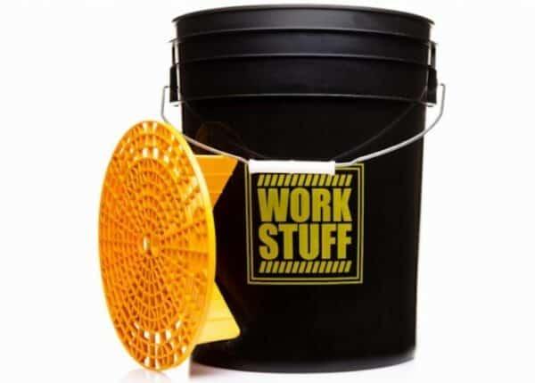 Work Stuff wiadro RINSE + Separator brudu – czarne wiadro detailingowe do mycia pojazdów 20L