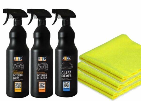 Zestaw-do-wnętrza-ADBL-Interior-Cleaner-+-ADBL-Interior-Wow-+-ADBL-Glass-Cleaner-+-mikrofibry